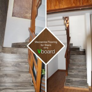 Mezzanine flooring for stairs using Vboard